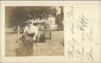 Woman & Dogs - Heampstead Long Island NY c1910 Real Photo Postcard