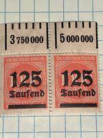 Germany Inflation Stamp 1923 Sg#288 125T Over 1000m  MNH Margin Strip Of 2