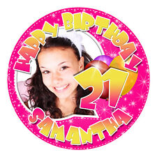 PERSONALISED YOUR PHOTO EDIBLE ICING IMAGE 21st BIRTHDAY CAKE TOPPER ROUND