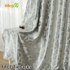 Blockout Eyelet Curtains 180cm x 185cm (Drop) French Style Silver Grey