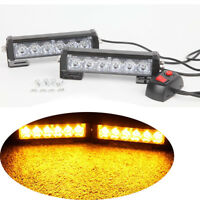 2x6 LED Car vehicle Strobe Flash Light Emergency Warning Flashing Lamp Amber 12V