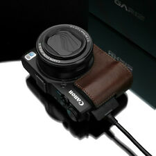New GARIZ Genuine Leather Half Case Brown For Canon PowerShot G1 X Mark II Case