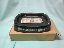 Bnib Ceramic Samichlaus Bier Cigar Ashtray Cigarette Vhtf Black w Gold Lettering
