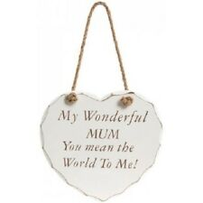 MY WONDERFUL MUM YOU MEAN THE WORLD TO ME Shabby Chic Hanging Heart Plaque Sign