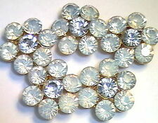 5 - 2 HOLE SLIDER BEADS WHITE OPAL & CLEAR RHINESTONE FLOWERS GOLD PLATED METAL