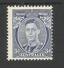 AUSTRALIA SG168b THE 1937 GVI 3d BLUE DIE 1a FINE AND FRESH MNH CAT £150