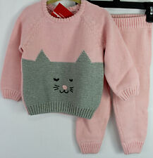 Hanna Andersson Cat Kitty Critter Sweater Set Outfit Organic Size 60 3-6 Nwt