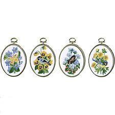 Embroidery Kit ~ Janlynn Set of 4 Floral Birds & Butterflies w/Frames #004-0753