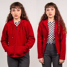 RED FLEECE WOMENS VINTAGE Y2K CUTE HOODED CASUAL 90'S OUTDOORS WARM 8 10