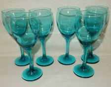 """Set of 6 Turquoise Blue Wine Cocktail Water Glasses Goblets 9.5 oz 7 5/8"""""""