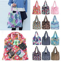 Cartoon Flower Print Foldable Shopping Bag Recyclable Home Grocery Tote Bag New