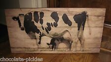 Dairy COW & CALF CANVAS Wall PICTURE*Farmhouse Primitive/French Country Decor