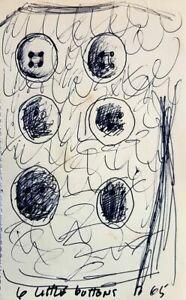 "Charles BLACKMAN ""6 Little Buttons"" original drawing modern, London 1965 + COA"