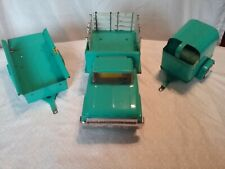 """Structo 3 pc """"Farm Set"""" Stake Truck - Horse and Utility Trailers Orig Paint"""