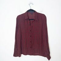 Josephine Chaus Red and Black Houndstooth Silk Button Up Blouse Womens Size 12