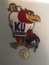 """KU Kansas Jayhawks Vintage RARE Embroidered Iron On Patch  3.5"""" x 2.5"""""""