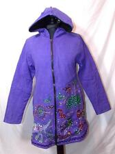 FAIR TRADE GRINGO ETHNIC HIPPY BOHO FESTIVAL FLEECE LINED PIXE HOOD JACKET S/M
