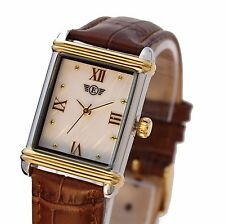Eriksen Ladies Rectangular Two-Tone Dress Watch Leather Strap PTT