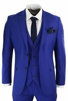 Mens 3 Piece Royal Blue Tailored Fit Complete Suit Best Man Groom Prom Wedding