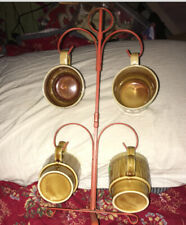 Vintage MCM  4-Cup Metal Mug Tree 1960's Orange Stand Rack & 4 Coffee Stack Mugs