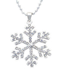 Clear Crystal Snowflake Pendant Necklace Winter Christmas Holiday Jewelry n2057