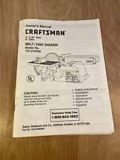 Craftsman Belt / Disc Sander Original Owner's Manual Model No. 137.215360