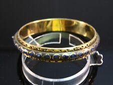Lazuli Gemstone Inlay Bangle -Size 8 Big Indian Brass Braided Weaving Many Lapis