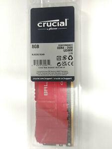Crucial Ballistix BL8G26C16U4R 8GB DDR4-2666 Desktop Gaming Memory Red Heatsink
