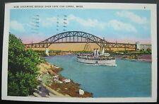 New Sagamore Bridge Over Cape Cod Canal MASS. Postcard 1936 Plymouth