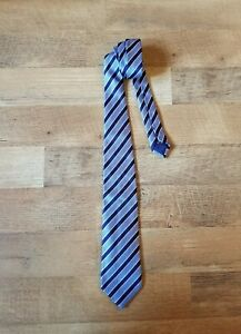 ERMENEGILDO ZEGNA all silk neck tie blue and navy stripe