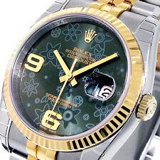 UNWORN ROLEX 116233 DATEJUST 36 mm GREEN FLORAL YELLOW GOLD MENS STEEL JUBILEE