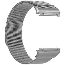 Grey Silver Milanese Magnetic Wristband Loop Strap Bracelet For Fitbit Ionic