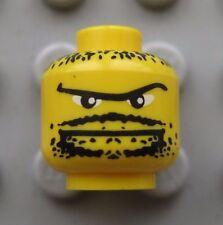 Lego Minifigure HEAD Yellow Black Moustache Goatee STUBBLE Pirate Batman
