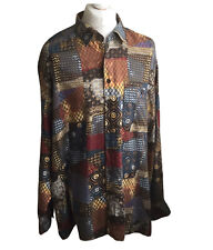 Eterna Crazy Abstract Patterned Brushed Cotton Shirt Long Sleeved Shirt XXL