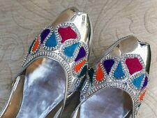 Señoras plata cuero Indio Boda Khussa zapatos talla 7