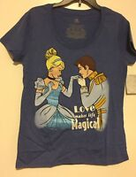 NWT Disney Store Womens Cinderella Love Makes Life Magical Blue T-shirt L Large