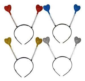 Adults Childs Coloured Glitter Heart Head Boppers Fancy Dress Accessory