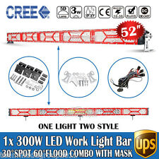 X-Series 52inch 300W CREE Spot Flood Combo With Red Mask LED Light Bar DRL Osram
