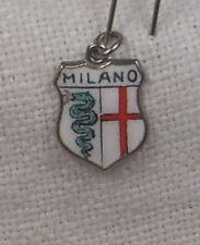 Vintage REU .925 Silver/Enamel Milan, Italy Shield - Travel Charm - New