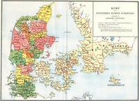 """24""""x30"""" Vintage Map of Denmark in Medieval Times"""