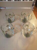 Vintage Spode Christmas Tree Clear Glass Coffee Hot Chocolate Mug - set of 4