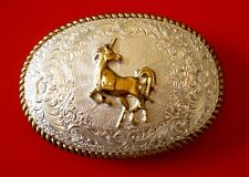Vintage Crumrine Unicorn Silver Plated Belt Buckle