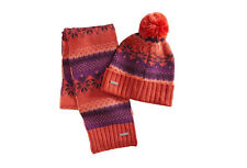 Merrell Women Winterbelle Beanie Hat & Scarf Set Merino Wool Pom Poppy One Size