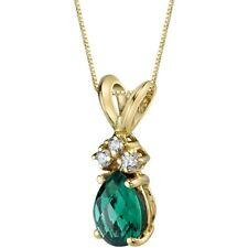 Oravo 14 Kt Yellow Gold Pear 0.50 cts Created Emerald Diamond Pendant
