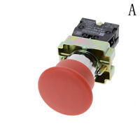 22mm NC N/C Red Mushroom Emergency Stop Push Button Switch 10A  FO