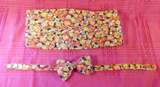 Carrot & Gibbs Formal Pure Silk Handmade Bow Tie Cummerbund Set Rust Gold Purple