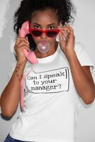 """""""Can I Speak to Your Manager?"""" - Short-Sleeve Unisex T-Shirt (White/Grey)"""