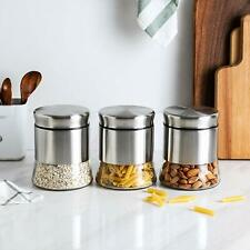 Kitchen Food Storage Organization Container Stainless Steel Glass Canister 3Pc