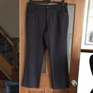 M&S Brown Heavy Canvas Chino Style Brown Trousers Stretch Size 18 Fit 16 18