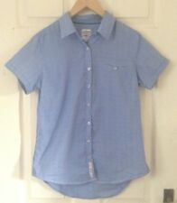 Losan Collection Mens blue spotted check shirt short sleeve front pocket Size M